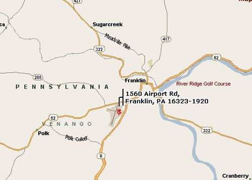 Map to Venango Regional Airport